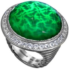 Alex Soldier Green Agate Quartz Topaz Oxidized Silver Ring One of a Kind
