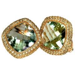 Alex Soldier Green Amethyst Peridot Gold Earrings Cufflinks One of a Kind