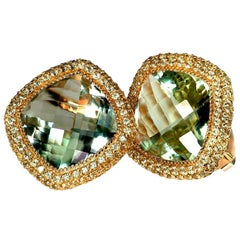 Alex Soldier Green Amethyst Peridot Gold Earrings Cufflinks One of a Kind