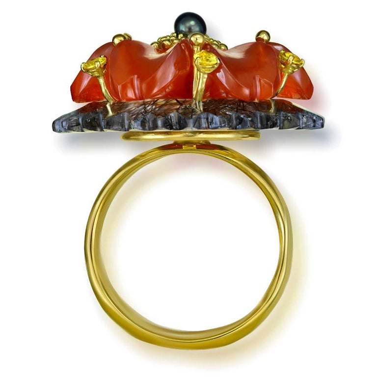 Alex Soldier Hand Carved Carnelian Quartz Sapphire Pearl Gold Blossom Ring In New Condition For Sale In New York, NY