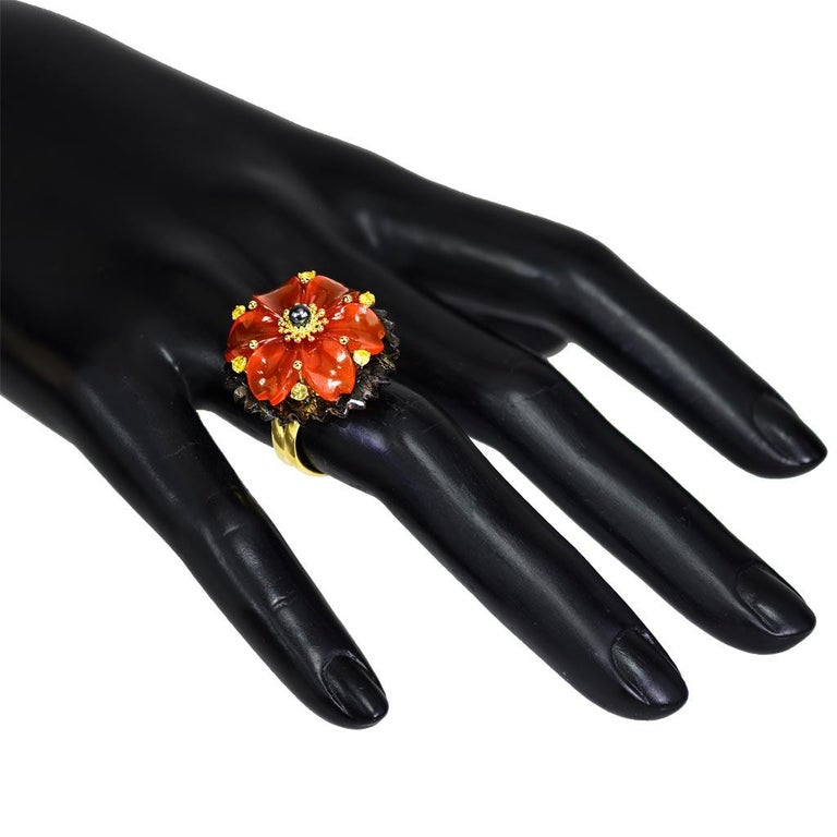 Women's or Men's Alex Soldier Hand Carved Carnelian Quartz Sapphire Pearl Gold Blossom Ring For Sale