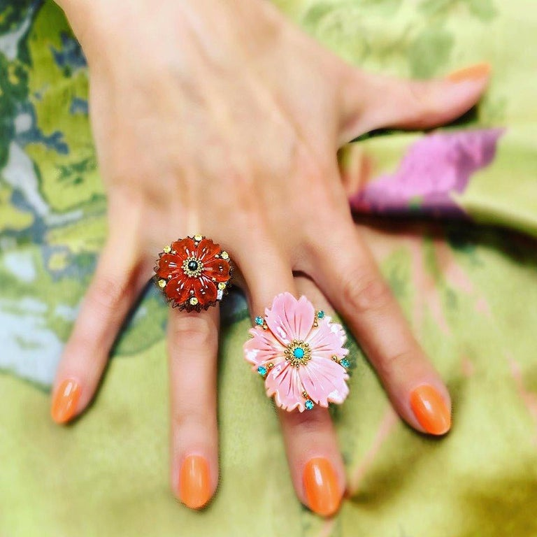 Alex Soldier Hand Carved Carnelian Quartz Sapphire Pearl Gold Blossom Ring For Sale 1