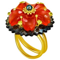 Alex Soldier Hand Carved Carnelian Quartz Sapphire Pearl Gold Blossom Ring