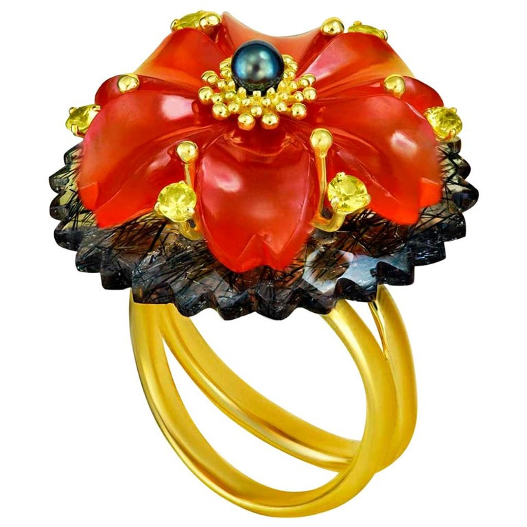 Alex Soldier Hand Carved Carnelian Quartz Sapphire Pearl Gold Blossom Ring For Sale