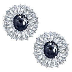 Alex Soldier Hematite Quartz Topaz Sterling Silver Platinum Earrings