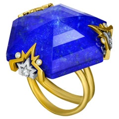 Alex Soldier Lapis Lazuli Quartz Diamond Gold Cocktail Ring One of a Kind