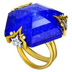 Alex Soldier Lapis Lazuli Quartz Diamond Gold Cocktail Ring One of a Kind