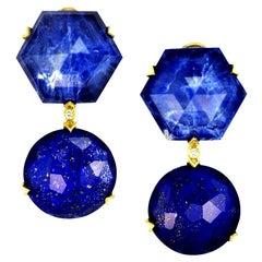 Alex Soldier Lapis Lazuli Sodalite Crystal Diamond Gold Denim Drop Earrings