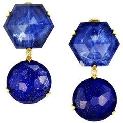 Alex Soldier Lapis Lazuli Sodalite Crystal Diamond Gold Denim Drop Earrings