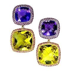 Alex Soldier Lemon Citrine Amethyst Garnet 18 Karat Gold Royal Drop Earrings