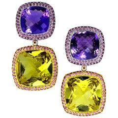 Alex Soldier Lemon Citrine Amethyst Garnet Gold Royal Drop Earrings