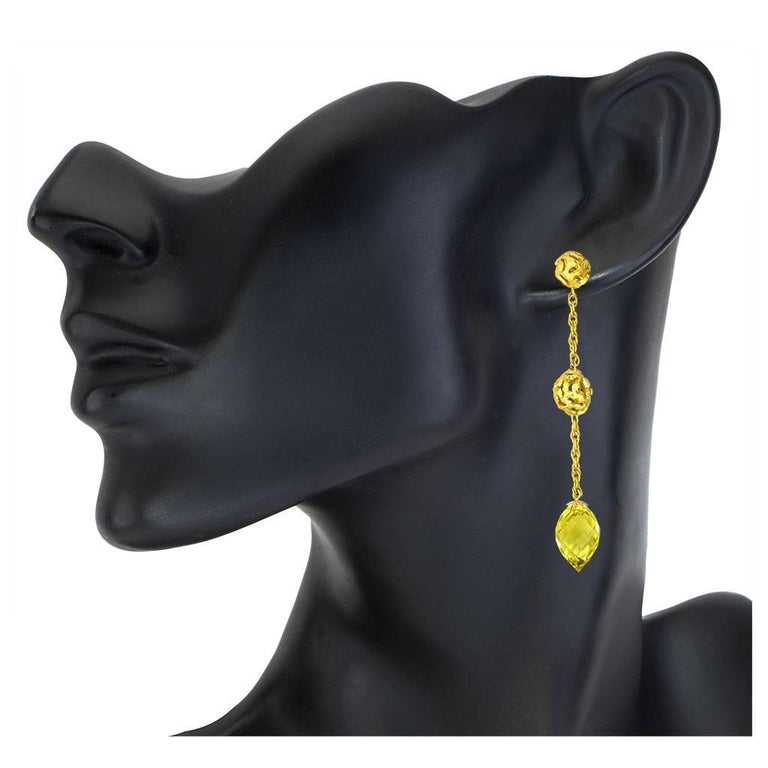 Women's or Men's Lemon Citrine Gold Textured Drop Earrings One of a Kind For Sale