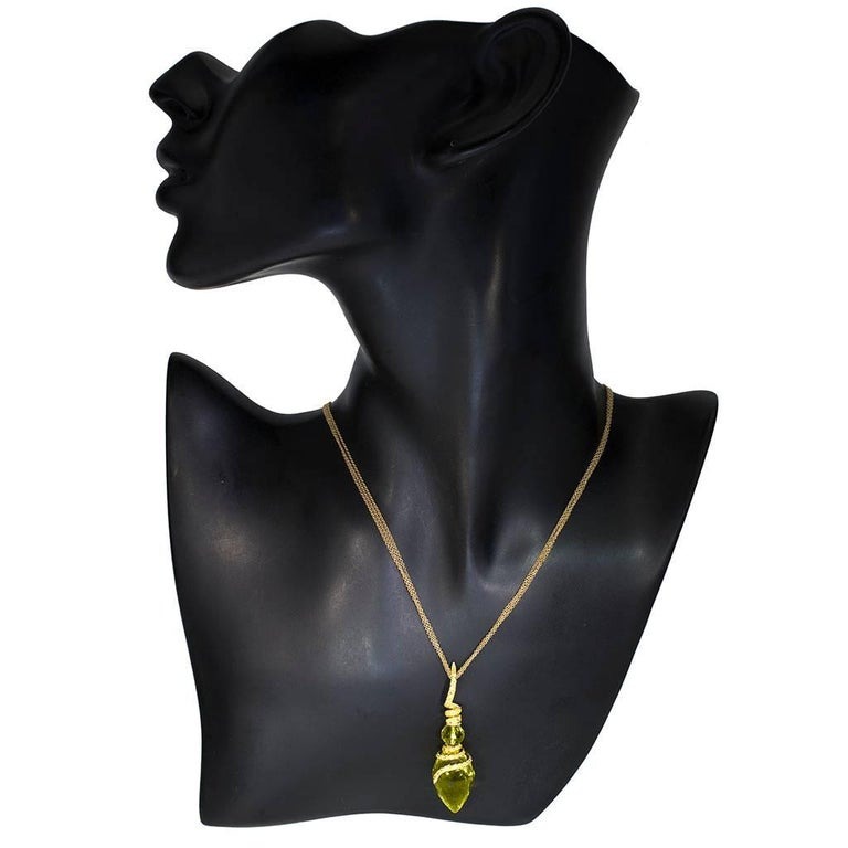 Alex Soldier Pendant Necklace in 18 karat yellow gold with lemon quartz (13.5 ct.) and yellow sapphires (1.2 ct.), suspended on 18 karat yellow gold multi-chain, 18 inches (45.72 cm) long (chain is included in price). Handmade in NYC. One of a kind.