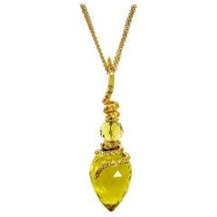 Alex Soldier Lemon Citrine Sapphire Gold Pendant Necklace on Chain One of a Kind