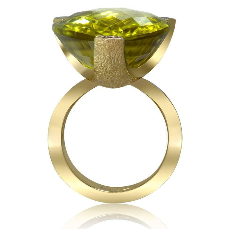 Pear Cut Alex Soldier Lemon Citrine Sapphire Hand-Textured 18k Gold Swan Cocktail Ring For Sale