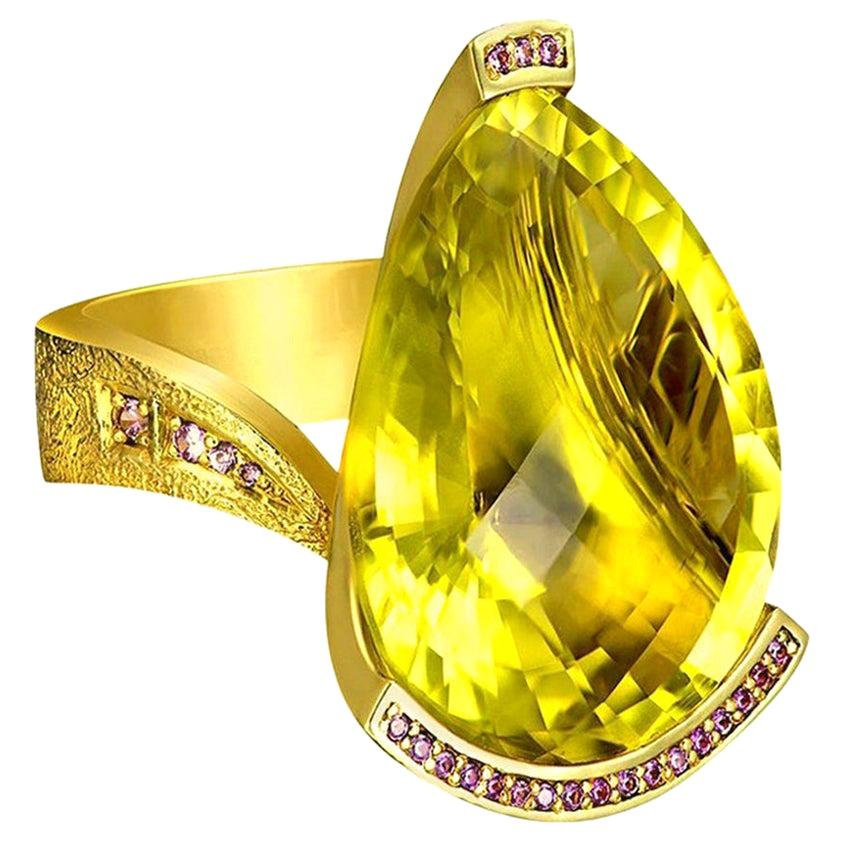 Alex Soldier Lemon Citrine Sapphire Hand-Textured 18k Gold Swan Cocktail Ring
