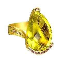 Alex Soldier Lemon Citrine Sapphire Hand-Textured 18k Gold Swan Cocktail Ring