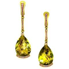 Alex Soldier Lemon Quartz Pink Sapphire 18 Karat Yellow Gold Swan Drop Earrings