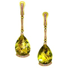 Alex Soldier Lemon Quartz Pink Sapphire Yellow Gold Swan Drop Earrings