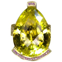 Alex Soldier Lemon Quartz Sapphire Hand-Textured 18K Gold Swan Cocktail Ring