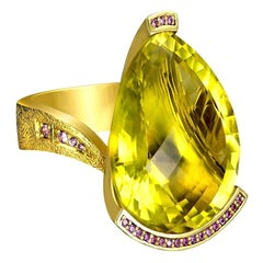 Alex Soldier Lemon Quartz Sapphire Hand-Textured 18K Gold Swan Cocktail Ring