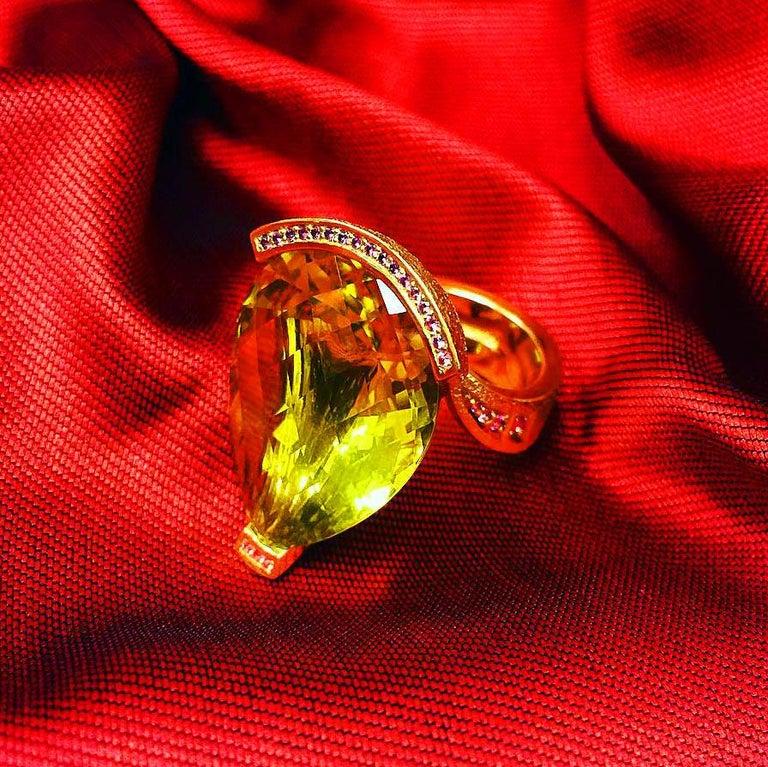 Alex Soldier Lemon Quartz Sapphire Hand-Textured Gold Swan Cocktail Ring For Sale 9