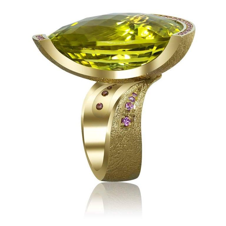 Alex Soldier Lemon Quartz Sapphire Hand-Textured Gold Swan Cocktail Ring For Sale 1