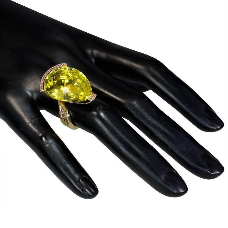 Alex Soldier Lemon Quartz Sapphire Hand-Textured Gold Swan Cocktail Ring For Sale 4