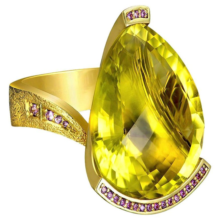 Alex Soldier Lemon Quartz Sapphire Hand-Textured Gold Swan Cocktail Ring For Sale