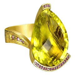 Alex Soldier Lemon Quartz Sapphire Hand-Textured Gold Swan Cocktail Ring