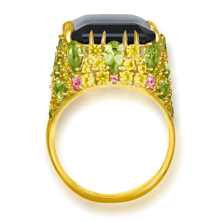 Alex Soldier Lemon Smoky Quartz Peridot Topaz Sapphire Diamond Blossom Gold Ring In New Condition In New York, NY