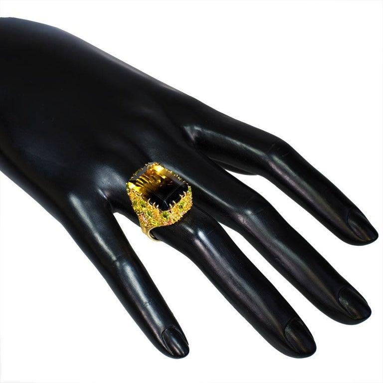 Women's or Men's Alex Soldier Lemon Smoky Quartz Peridot Topaz Sapphire Diamond Blossom Gold Ring For Sale