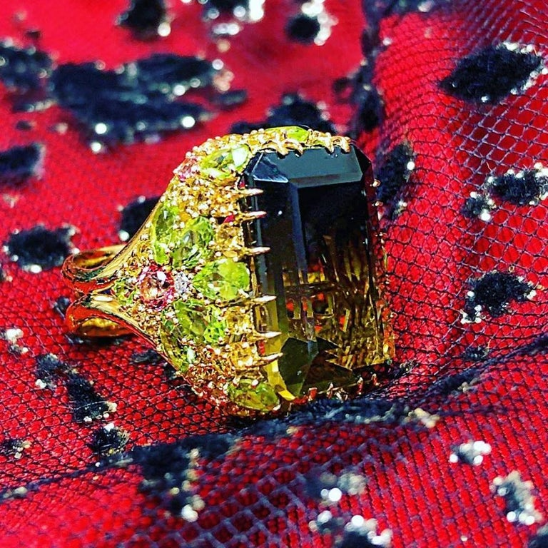 Alex Soldier Lemon Smoky Quartz Peridot Topaz Sapphire Diamond Blossom Gold Ring 3