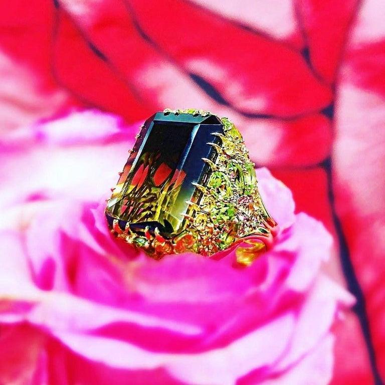 Alex Soldier Lemon Smoky Quartz Peridot Topaz Sapphire Diamond Blossom Gold Ring For Sale 2