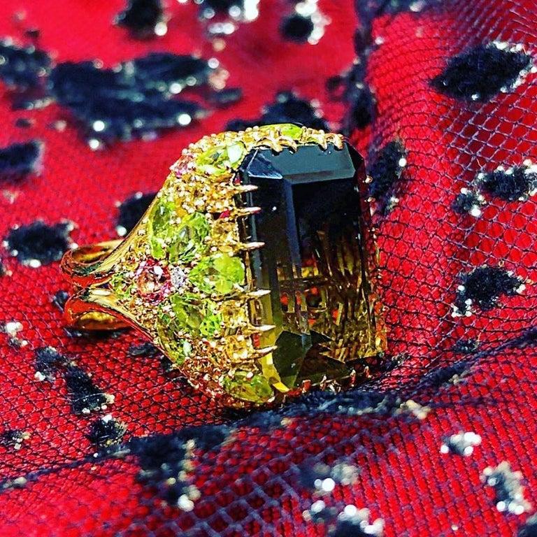 Alex Soldier Lemon Smoky Quartz Peridot Topaz Sapphire Diamond Blossom Gold Ring For Sale 3