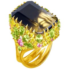 Alex Soldier Lemon Smoky Quartz Peridot Topaz Sapphire Diamond Blossom Gold Ring
