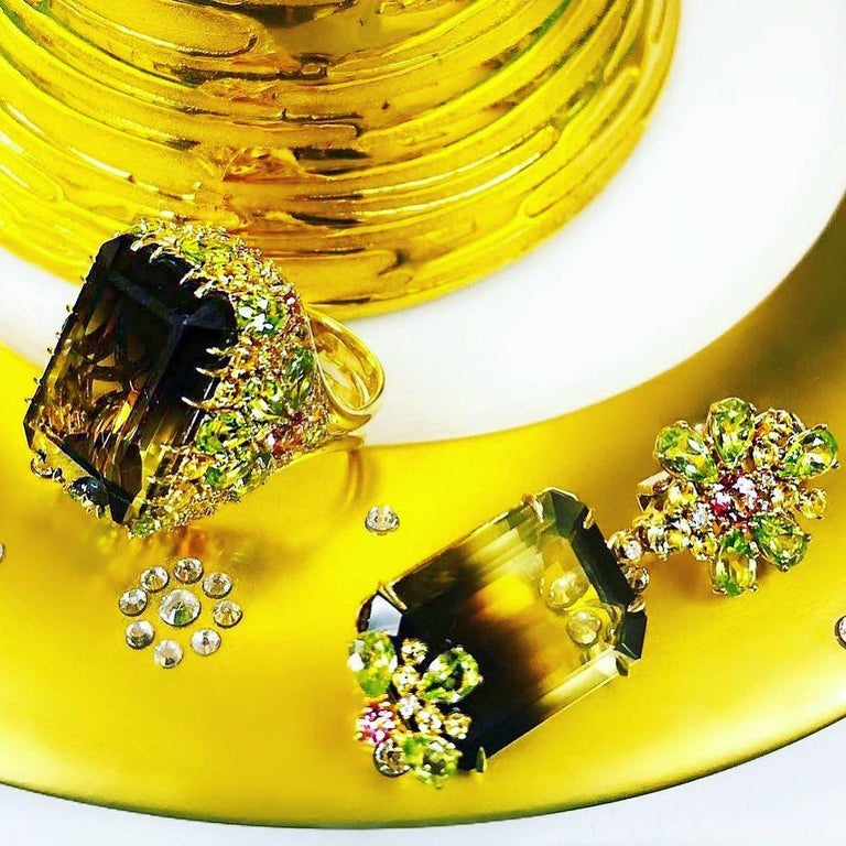 Alex Soldier Lemon Smoky Quartz Peridot Topaz Sapphire Diamond Gold Blossom Ring 1