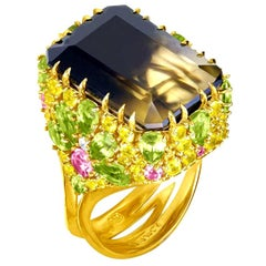 Alex Soldier Lemon Smoky Quartz Peridot Topaz Sapphire Diamond Gold Blossom Ring