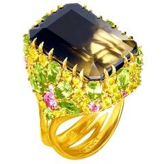Alex Soldier Lemon Smoky Quartz Peridot Topaz Sapphire Diamond Gold Blossom Ring