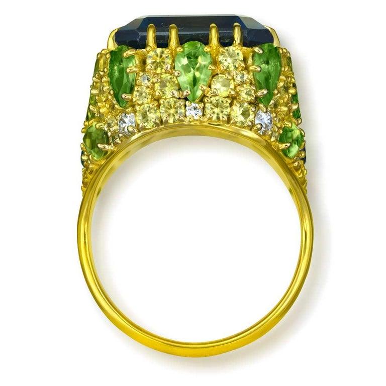 Emerald Cut Alex Soldier London Blue Topaz Peridot Sapphire Diamond Blossom Gold Ring For Sale