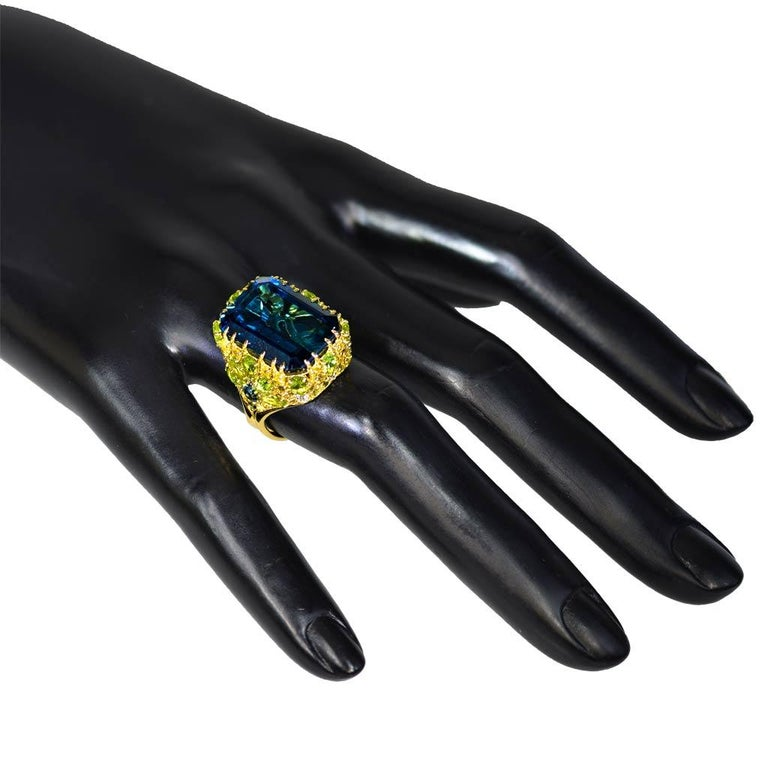 Women's or Men's Alex Soldier London Blue Topaz Peridot Sapphire Diamond Blossom Gold Ring