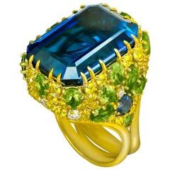 Alex Soldier London Blue Topaz Peridot Sapphire Diamond Blossom Gold Ring