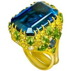Alex Soldier London Blue Topaz Peridot Sapphire Diamond Blossom Gold Ring