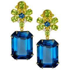 Alex Soldier London Blue Topaz Peridot Sapphire Diamond Gold Drop Earrings