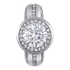 Alex Soldier Modern Sensuality Diamond Halo Hope Platinum Engagement Ring