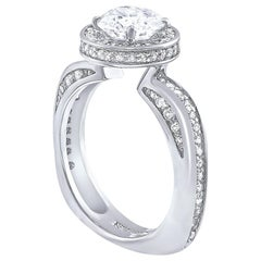 Alex Soldier Modern Sensuality Diamond Halo Platinum Engagement Cocktail Ring