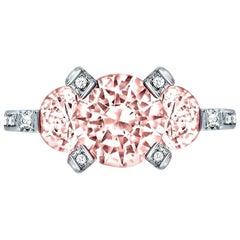 Alex Soldier Morganite Diamond Platinum Three-Stone Trinity Ring One of a Kind
