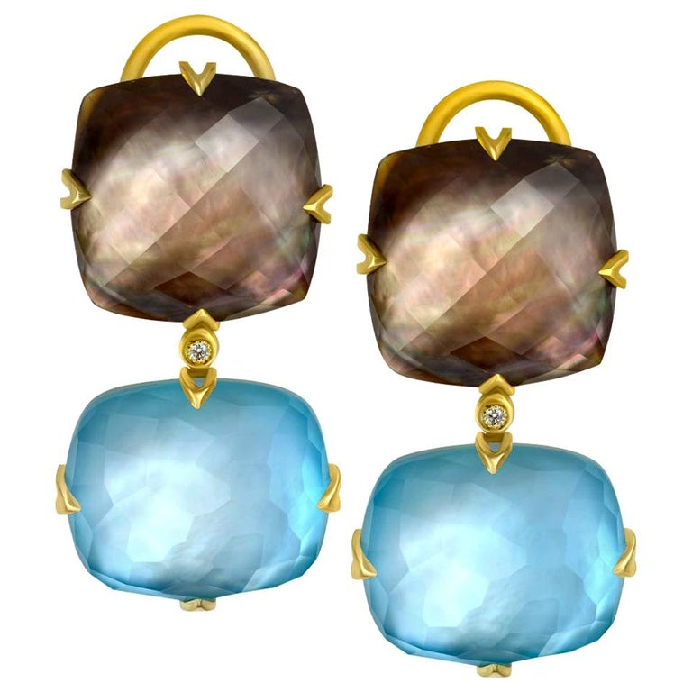 Alex Soldier Mother of Pearl Quartz Diamond Gold Drop Earrings One of a Kind