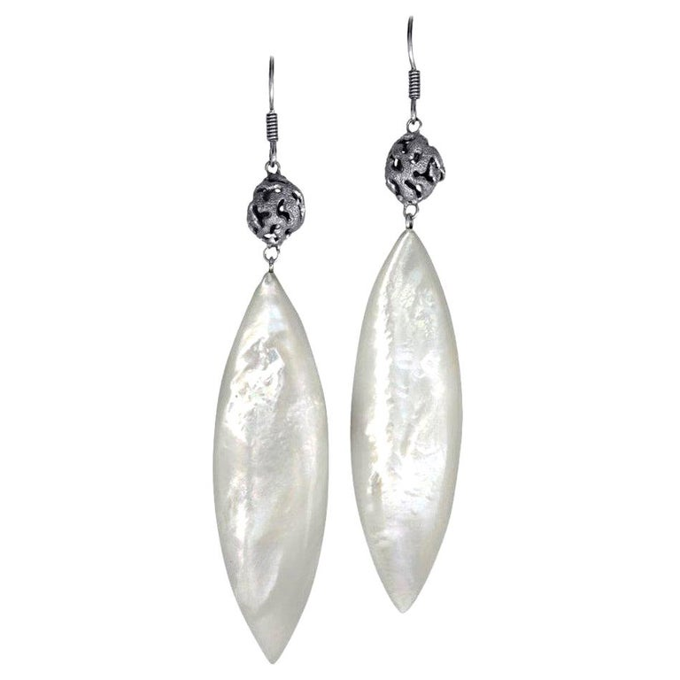 Alex Soldier Mother of Pearl Sterling Silver Platinum Textured Drop Earrings