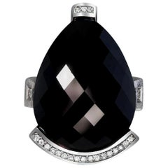 Alex Soldier Onyx Diamond White Gold Textured Swan Cocktail Ring One of a Kind